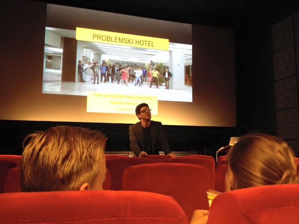 Letterkundige Sven Vitse gaf college over Problemski Hotel.