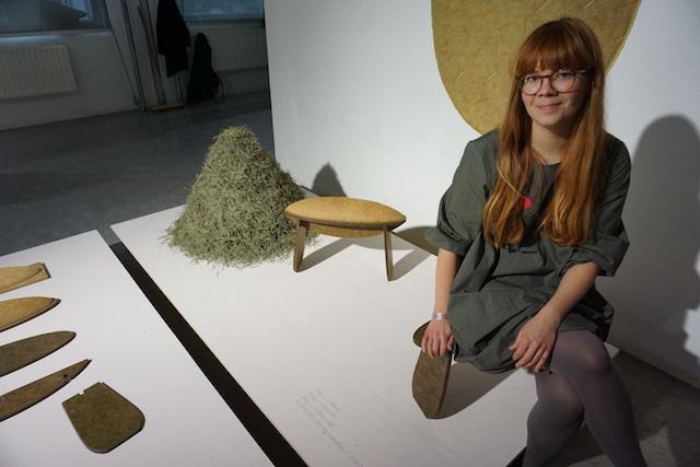Tamara Orjola bij haar afstudeerproject Forest Wool, waarmee ze cum laude afstudeerde en voor twee grote prijzen werd genomineerd