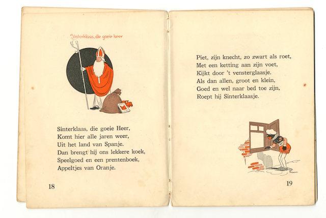 Zwarte Piet ligt aan de ketting bij 'die goeie Heer', illustraties van Phiny Dick uit 1941.