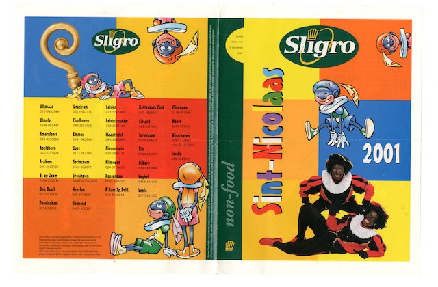 Kleurenpieten bestonden 15 jaar geleden ook al, hier in de Sligro-folder uit 2001.