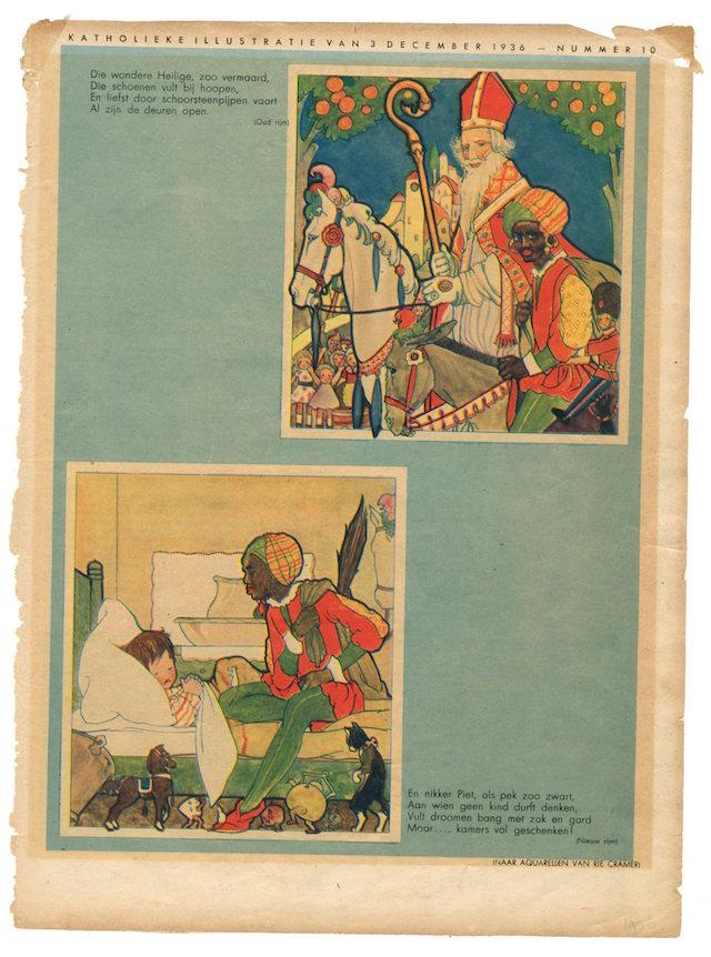 'Nikker Piet, als pek zo zwart.' Illustratie van Rie Cramer uit 1936.